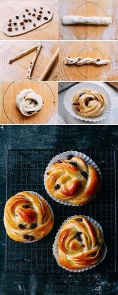 Cinnamon Raisin Buns (Using Milk Bread dough) (Baking Desserts Pastries) Bread Bun, Bread Cake, Yeast Bread, Sugar Bread, Braided Bread, Baking Recipes, Dessert Recipes, Bread Recipes, Bread Shaping