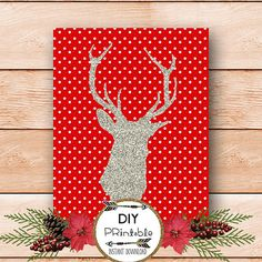 Christmas PRINTABLE art glitter deer printable by luxeprairie