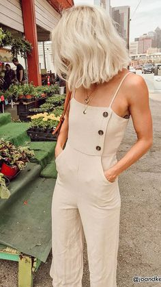 Women Summer Backless Button Strappy Jumpsuit Casual Long Trousers Playsuit Women Summer Backless Button Strappy Jumpsuit Casual Long Trousers Playsuit - Jumpsuits and Romper Looks Chic, Looks Style, My Style, Hair Style, Look Fashion, Fashion Outfits, Fashion Tips, Womens Fashion, Fashion Ideas
