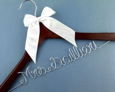 One line Wire Name Wedding Hanger, Personalized Bridal Brides Hanger, Bride Name Hanger, Personalized Bridal Gift via Etsy