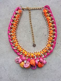 Pink and orange necklace skull necklace bib by JewelryLanChe