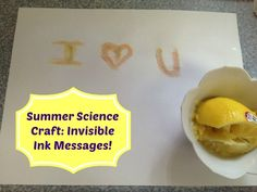 Science Craft for Kids: Write Mystery Messages with Invisible Ink!