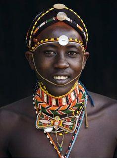 Africa | Samburu man.  Kenya || Postcard; published by Corbis.  Photographer Keren Su. Tuareg People of the world.  Beautiful people.  And colours of the world