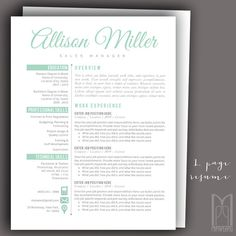 Resume Template and Cover Letter Template Professional Thank You Letter Template, Cover Letter Template, Modern Resume Template, Creative Resume Templates, Resume Writing Tips, Resume Ideas, Cover Letter For Resume, Career Development, Professional Resume