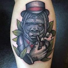 Discover the largest living primate among the forest with these top 100 best gorilla tattoo designs for men. Knuckle walk your way to manly great ape ideas. Female Gorilla, Gorilla Tattoo, Tattoo Designs Men, Tattoos For Guys, Smoking, Mens Fashion, Abstract, Cigar, Ideas