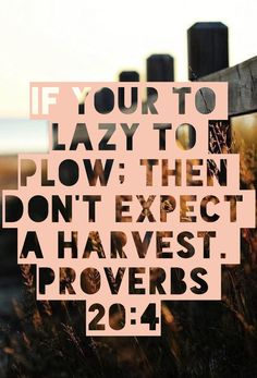 If your to lazy to plow; then don't expect a harvest. Proverbs 20:4