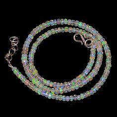 "36CRTS 3.5to4MM 18"" ETHIOPIAN OPAL FACETED RONDELLE BEADS NECKLACE OBI2111 #OPALBEADSINDIA"
