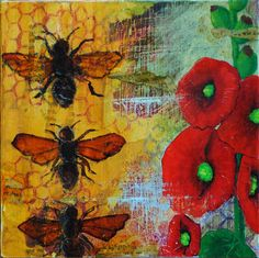 Hollyhocks and Honey Original Mixed Media Painting $75 #etsyfollow #fineart #original artwork #mixed-media @Bobbi Lewin