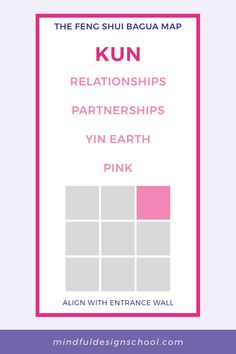 Did you know there's an area of your home that's all about relationships, partnerships, and love? Working on this area can improve existing relationships or help you call in a new one. For help finding this area of your home, download our free bagua kit. #relationships #love #fengshuibagua Feng Shui Energy Map, Discover Yourself, School Design, Did You Know, Relationships, Mindfulness, Kit, Teaching, Free