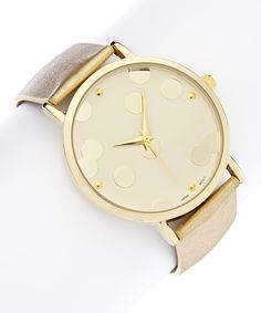 Look at this Gold Large Dot Watch on #zulily today!