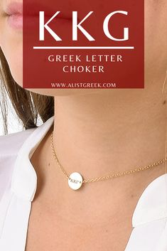 Stay on trend while still rocking your KKG Greek letters with this adjustable choker in rose gold, sterling silver and gold. Shop at www.alistgreek.com! #jewelry #choker #discnecklace #necklace #layering #layerednecklace #greekletters #custom #engraved #personalized #gold #silver #sorority #sororitylife #sororityletters #kappa #kappakappagamma #kkg #kkgletters