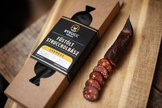 StruccFészek Ostrich Sausages on Packaging of the World - Creative Package Design Gallery Cheese Packaging, Food Packaging, Label Design, Branding Design, Design Packaging, Package Design, Graphic Design, Ostrich Meat, Snacks