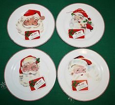 "Set 4 Rosanna ""do not Open Til Christmas"" Dessert Plates Vintage Santas EXC 8"" | eBay"