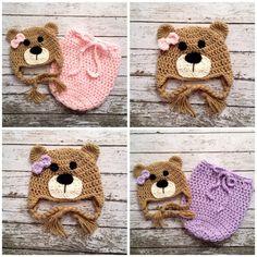 Twin Little Miss Bear Beanies and Swaddle by mamamegsyarnshoppe, $88.00