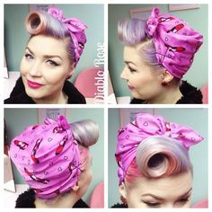 Retro Hairstyles Today's hair, pretty simple do so I added one of my favourite headscarves! From Wearing Diablo Rose Lip Paint from 1940s Hairstyles, Bobby Pin Hairstyles, Fancy Hairstyles, Headband Hairstyles, Rockabilly Makeup, 50s Makeup, Crazy Makeup, Makeup Art, Rockabilly Hairstyle