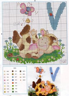 Labores de Ana Cross Stitch Baby, Cross Stitch Alphabet, Cross Stitch Patterns, Stitch 2, Cross Stitching, Baby Animals, Embroidery Designs, Little Girls, Diy And Crafts