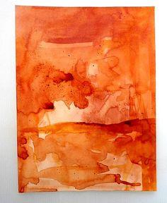 OktobeRöte, Tusche auf Papier No.1, Aquarell Bild von KunstKaufRauschArtig auf DaWanda.com