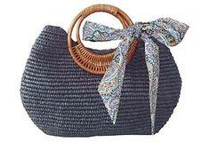One Kings Lane - Bag the Boho Look - Crochet Satchel, Navy