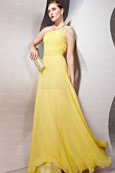 Floor-length Daffodil Ruffles Evening Dress
