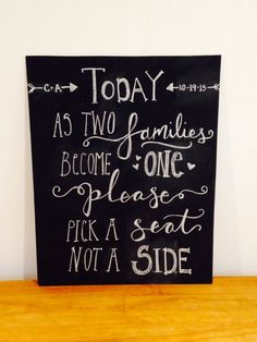 Personalized Pick a seat not a side chalkboard, wedding sign, rustic wedding, hand lettered, customizable by TheHipsterHousewife