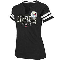 Pittsburgh Steelers Ladies Go For Two Split Neck T-Shirt - Black #fanatics