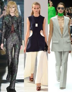 Flared trousers. And check out that centre top! (L-R: Tom Ford, Celine, Acne)