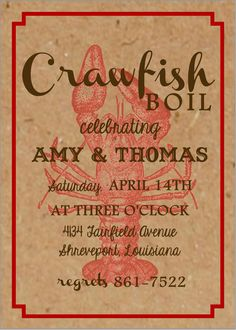 Crawfish Boil Invitations Boiled food Progressive dinner and Crab