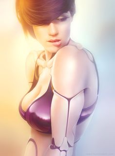 One of Michael Oswald's attractive android digital paintings of a sexy robot girl