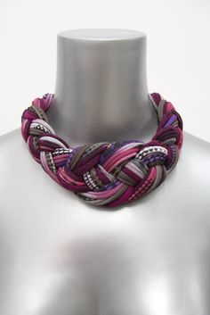 Collar Necklace SUMMER SALE Braided Tribal Knotted Choker Fabric Jewelry Braid Neckpiece Burgundy African Knot Jewellery. $48.00, via Etsy.