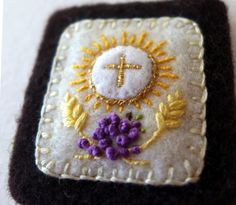 Embroidered Brown Scapular: Blessed Sacrament with Grapes and Wheat and Immaculate Heart of Mary with Roses