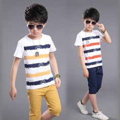 24.47$ Buy now - http://ali8cu.shopchina.info/go.php?t=32796469685 - Summer Clothing Sets Boys Cotton T-Shirts & Pants 2 Pcs Casual Boys Costume Suits Teenage Children Clothing 4 6 8 10 12 years 24.47$ #magazine