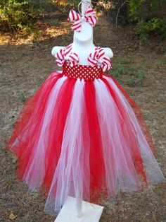 Candy Cane Tutu Dress with Bows on Shoulders by littlepsboutique, $45.00