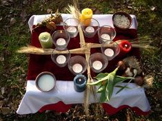 """Here is an Imbolc altar. I am Wiccan, though I don't practice it """"religiously. Mabon, Samhain, Imbolc Ritual, Beltane, Fire Festival, Festival Lights, Yule, Pagan Altar, Sabbats"""
