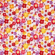 watercolors flower fabric yellow-red Robert Kaufman Petal