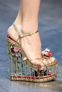 Alexander McQueen. I don't know how you would wear these without falling over. But they make me think of Sleeping Beauty. Dolce Gabbana, Cute Shoes, Me Too Shoes, Awesome Shoes, Funny Shoes, Pretty Shoes, Amazing Heels, Amazing Pics, Caged Heels