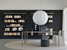 Floating steel and wood bookcase GRADUATE by MOLTENI