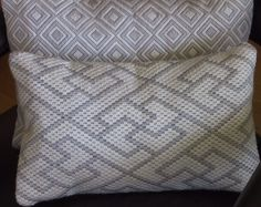 Bargello Needlepoint Greek Key or Diamonds Light Gray and Off White Hand Embroidered Pillow Cushion on Etsy, $155.00
