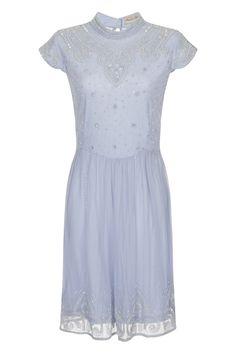 Georgiana Blue Highneck Embellished Skater Dress