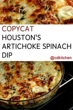 Houston's Restaurant's Artichoke Spinach Dip - This dip is a hit at Houston's re. Houston's Restaurant's Artichoke Spinach Dip - This dip is a hit at Houston's restaurant an. Hot Artichoke Spinach Dip, Best Spinach Dip, Baked Spinach Artichoke Dip, Artichoke Recipes, Easy Appetizer Recipes, Dip Recipes, Cooking Recipes, Recipes, Restaurant Recipes
