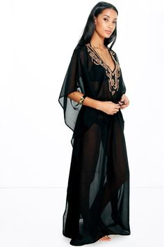 Eve Gold Embroidered Maxi Beach Kaftan
