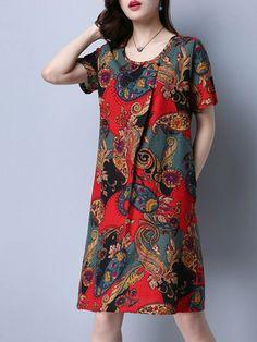 Vintage Women Ethnic Short Sleeve Print Dresses