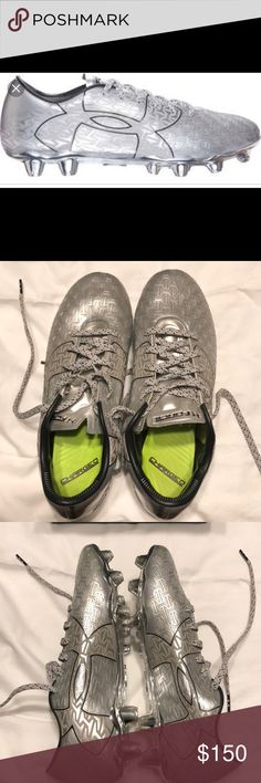 Soccer cleats Under Armour soccer cleats⚽️⚽️⚽️- men's size 7  Worn one time at practice, ended up being a tad too big and I'm more used to Nike cleats. Can probably fit a women's size 8.5. Sparkly metallic silver in color and will come with box Under Armour Shoes Athletic Shoes