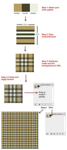 I tried this and it was very easy and looks great.Create a Burberry Style Plaid with Illustrator in 4 Steps Graphic Design Branding, Graphic Design Tutorials, Graphic Design Illustration, Graphic Design Inspiration, Typography Design, Gfx Design, Tool Design, Layout Design, Adobe Illustrator Tutorials