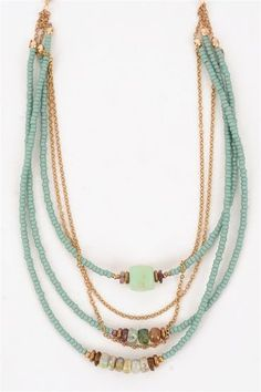 Triple o' Teal Necklace from Avindy at Evie Lou: