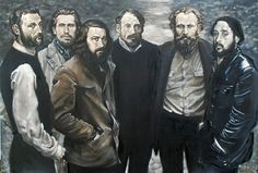 From left to right: Jean Frederic Bazille, Claude Monet, Jean Francois Millet, Pierre Auguste Renoir, Edouard Manet and Edgar Degas.