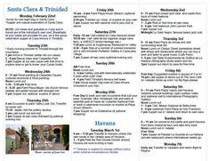 Itinerary inside page for 2016 Mid-Winter Cuban Salsa Dance and Paint Group Excursion. Feb. 22 - Mar. 7, 2016. Http://www.nikkisportraits.com