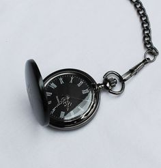 Personalized Black Pocket Watch - Groomsmen Gift - Fathers Day Gift - Wedding Party Gift - Best Man Gift