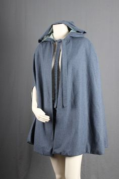 Blue Cape Vintage poncho hooded cape hood winter by sparrowlyn