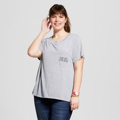 Women's Plus Size 50% Nope 50% Never Embroidered Pocket Graphic Tee Heather Gray 1X - Modern Lux (Juniors')