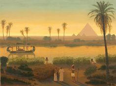 Sunset On The Nile At Giza Pyramids - Ancient Egypt - Egyptian Art - Handmade Oil Painting On Canvas Ancient Egypt Fashion, Ancient Egypt Art, Old Egypt, Nile River Ancient Egypt, Ancient History, Art Arabe, Egypt Concept Art, Toile Photo, Le Nil